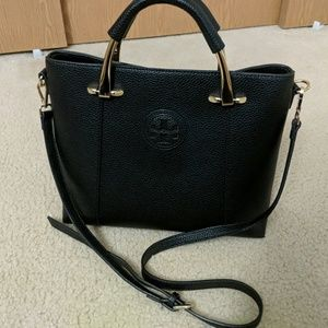 Authentic Tory Burch Black Leather Handbag